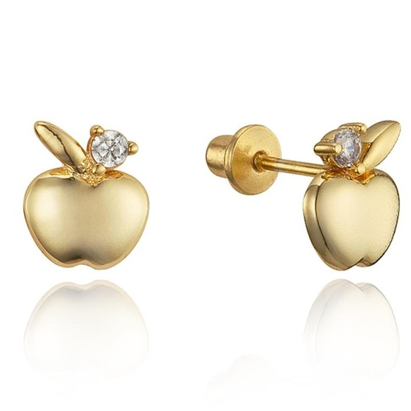 0dbba9571 Jewelry   14k Gold Plated Apple Cz Girls Stud Earrings   Poshmark